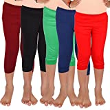 #5: Aloft Girls Muliticolor Plain Cotton Knee Length Leggings (Pack of -5pcs)