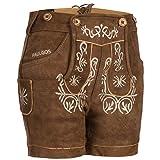 PAULGOS Damen Trachten Lederhose + Träger, Echtes Leder, Kurz in 8 Farben Gr. 34-50 M2, Damen Größe:44, Farbe:Hellbraun
