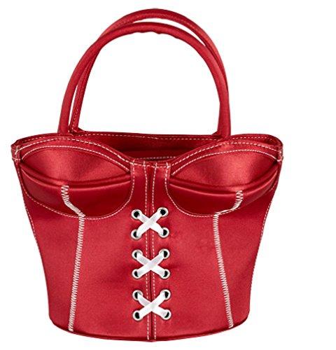 Korsett-Handtasche / Handtasche / Tasche / Frauen aufgepasst! Hier ist die ganz besondere Tasche, die für Aufmerksamkeit sorgen wird: Rot, in Korsettform mit abgesetzten weißen Nähten und zwei Bügelgriffen. Mit kleiner Innentasche und außen mit Reißverschluss zu schließen. Maße: Gesamthöhe inklusive Bügel ca. 28 cm, ca. 13 cm tief, ca. 18 bis 21,5 cm breit. 100% Polyester. / Rote Handtasche in Korsettform mit abgesetzten weißen Nähten. Mit zwei Bügelgriffen. Mit kleiner Innentasche und außen mit Reißverschluss zu schließen