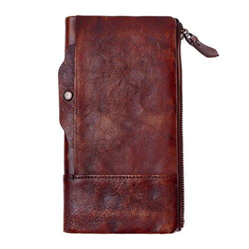 ZLYC stile retrò a mano inclusa in pelle lungo portafoglio con porta carte rimovibile, Brown (marrone) - JC-FLT-5053D-BR-1 Dark Red