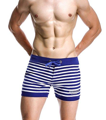 Honeystore Herren Strand Shorts Badeshorts Hai Muster Schnell Trocknend Bademode Blau