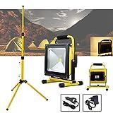 VINGO 50w LED Akkulampe 4000LM Wiederaufladbare handlampe 4400MA Außenstrahler Warmweiß mit Stabiles Dreibein-Stativ