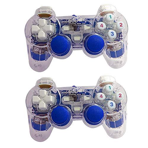 PIANAI PA® Gamepad,Spiel-Controller,3 Farben-Transparente Verdrahtetes USB Gamepad Doppelvibrations-Joystick-Spiel-Steuerpult 2 Stück,Blue