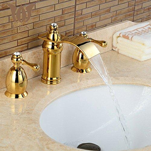 Tougmoo becco a cascata due maniglie tre fori olio strofinato bronzo rubinetto per lavabo Yellow
