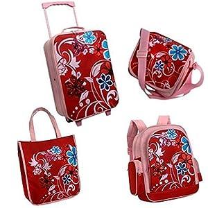 4-er Reiseset mit Trolley, Rucksack und Taschen für kleine Moterims