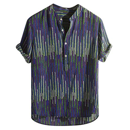 Xmiral Camicia Allentata a Manica Corta da Uomo a Maniche Lunghe con Stampa Colorata (M,12- Blu)