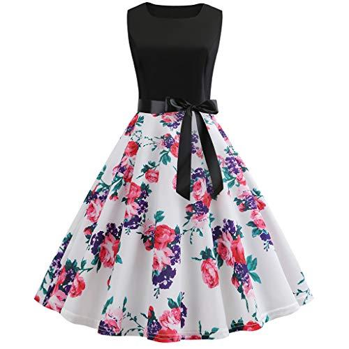 CUTUDE Damen Kleider Röcke Kurzarm Sommerkleider Vintage 50er Jahre Retro Rundhalsausschnitt Ärmellos Drucken Abendkleider (Rot,X-Large) (Damen X-large-baby-puppe Shirt)