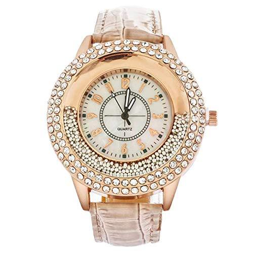 Souarts Damen Armbanduhr mit Beige Weiss Blau Lederarmband Treibsand Strass Zifferblatt Quarzuhr Analog mit Batterie - Damen Kleidung : Uhren Blau