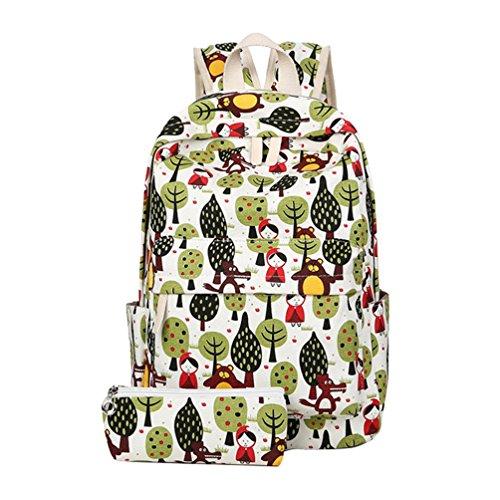 YuanDian Mädchen Kinder Grundschule Schüler Leinwand Karikatur Drucken Reduzieren Sie Die Belastung Schultaschen Schulrucksäcke Coole Büchertaschen Rucksack (Freie Bleistift-Taschen) Gras Grün