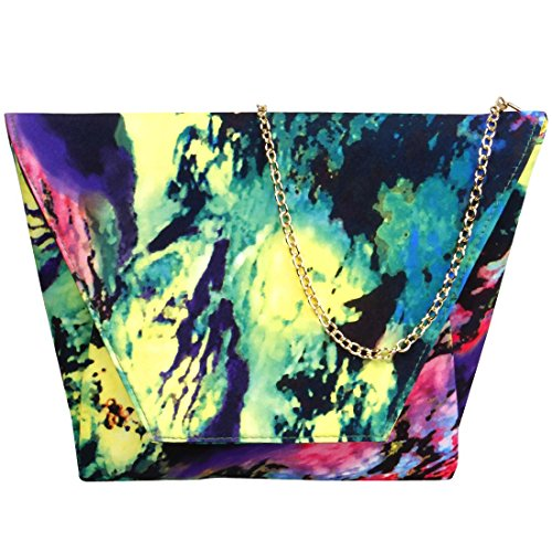 BMC Da donna Simil Pelle Abstract Fashion Lembo Della Busta Design Borsa Chiusura A Scatto Pittura Strokes