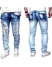 Justing Herren Jeans Destroyed -Cut- Risse Stretch Skinny Hose Slim  Zerissen Used Look 4ddb39cfb3