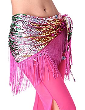 Dance Accessories Lndian Dance Danza del vientre cadera bufanda Skirt Tassels Sequins Wrap monedas Costume