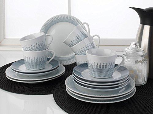 Home4You Kaffee-Service Kaffeegeschirr Geschirrset NOEMI | 18-tlg. (6 Personen) | Weiß-Grau | Porzellan
