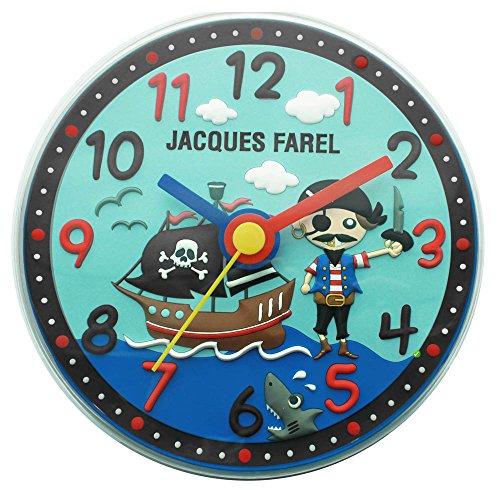 JACQUES FAREL Kinderwanduhr Jungen Pirat blau ohne Ticken, mit Leuchtzeiger WAL 05