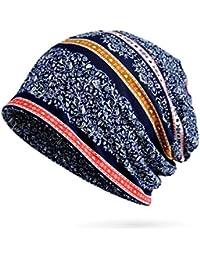 TININNA Bonnet Beanie Slouch Hat Capuchon Impression Chapeau Casquette Écharpe  Cache-Col en Coton Fleur 5ed8b595a40