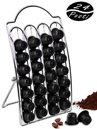 Vetrineinrete® porta capsule caffè stand verticale di dispenser per 24 capsule nespresso porta cialde in metallo a20