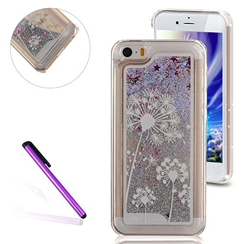 iPhone 5C Hülle,iPhone 5C Case,iPhone 5C Cove,Silber Flüssig-Serie Muster Transparent Hard Case Cover Hülle Etui für iPhone 5C,EMAXELERS Herz Bling Glitzer Glitter Shiny Sparkle Treibsand Liquid Fließ Silver Liquid 2