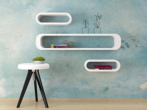 Ve.ca-italy set 3 mensole design cubi ovali colore bianco