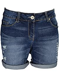 AFS Ladies Stretchy Denim Shorts Distressed Jeans Boyfriend Skinny Hotpants Ripped Rollup Half Pants