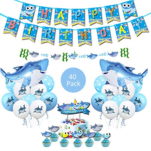 DreamJing Hai Baby Party Dekoration Hai Latex Ballon Geburtstagsfeier Baby Shower Hochzeit Dekoration Party Dekoration Party Supplies Shark Party Dekorationen