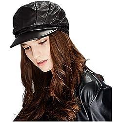 Kenmont genuina piel de cordero boina sombrero gorra de cuero de dama