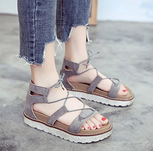 Sommer Sandalen Frauen kreuzen Riemchensandalen dicke Kruste Muffin offene Sandalen Schuhe der Frauen flache Sandalen Grey