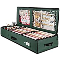 ZOBER Premium Christmas Wrapping Paper Storage Bag with Interior Pockets, Stores Up To 24 Rolls, Wrap Organiser box, Xmas Gifts & Accessories - Made of Tear Proof fabric- 5 Year Warranty