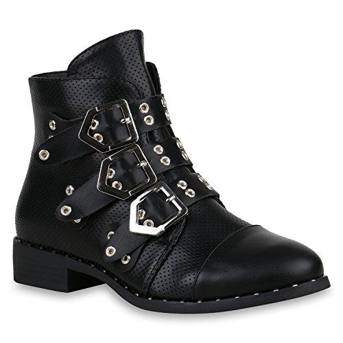 Stiefelparadies Damen Biker Boots Nieten Stiefeletten Leder-Optik Schuhe Schnallen 157363 Schwarz Avion 36 Flandell