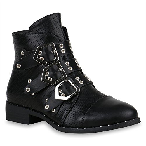 Damen Biker Boots Nieten Stiefeletten Leder-Optik Schuhe Schnallen 157363 Schwarz Avion 39 Flandell