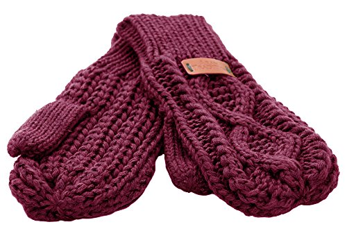 Aran Traditions Raspberry Red Diamond Cable Knit Mitts - Cable Knit Mitt