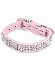 iEFiEL Collar Ajustable de Seguridad para Mascota Perro Gato con Diamantes Artificiales