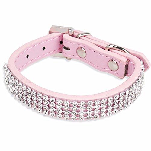 iEFiEL Collar Ajustable de Seguridad para Mascota Perro Gato con Diamantes Artificiales Rosa tamaño libre