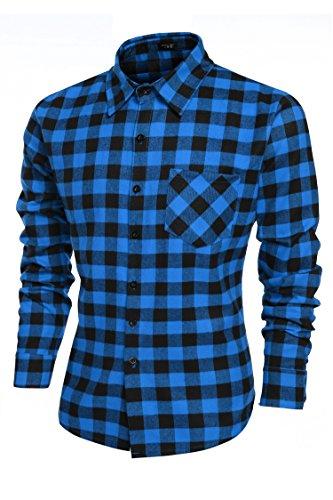 Coofandy Coofandy Herren Hemd Freizeit Karierthemd Slim Fit Langarmhemdshirt Blau S