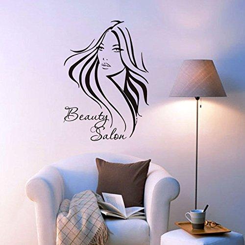 Ziemlich lange Haare Mädchen Wand Aufkleber Beauty Salon Wohnzimmer Dekorative Kunst schwarze Wand Aufkleber adesivo de parede Wallpaper ZA 311, schwarz, 56 x 79 cm (Haar-salon-wand-kunst)