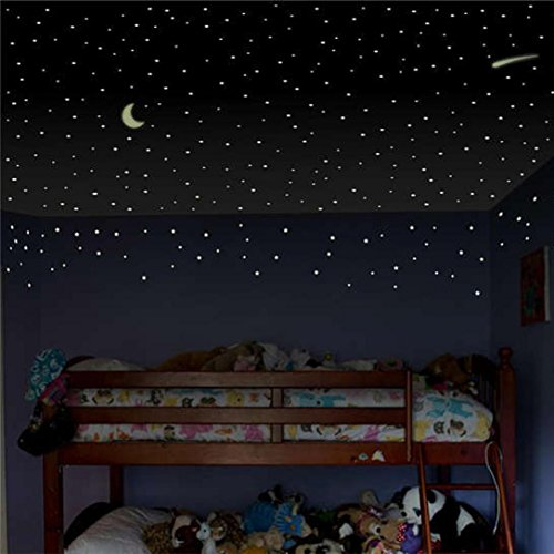 fzimmer Glow in The Dark Sterne Wand Kunst Aufkleber,DIY Wandtattoo Hellgrün Luminous Wandaufkleber Teens Kinder Baby Zimmer Kinderzimmer Dekoration (Glow In The Dark-dekorationen Für Raum)