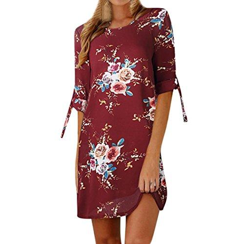 Heiß! Damen Kleid Yesmile Frauen Frühling Sommer Lose Halbe Hülse Minikleid Blumendruck Bowknot Ärmeln Cocktail Minikleid Casual Party Kleid (4XL, Wein) (Für Namen Halloween Wein)
