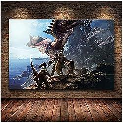 A&D Monster Hunter World Die Poster Dekoration Malereiauf HD Leinwand Leinwand Malerei Kunst Poster und Drucke -60x90cm No Frame