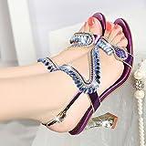 Suhang sandalias mujer zapatos taladros en T agua talón alto sandalias peces boca zapatos Rough Diamond Mujer Zapatos con Inserciones, The Purple, 35