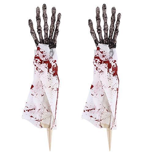Iraza Halloween Decoración Terror Prop Esqueleto de la Mano Hueso Halloween Manos Fantasma con Paño para Halloween Atrezzo
