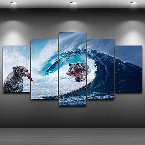 MAOYYM1 Moderno Resumen Foto Decoración para el hogar Fotos Arte de la Pared 5 Panel HD Cartel Osos Ola de Mar Gigante Pez Lienzo de Pintura