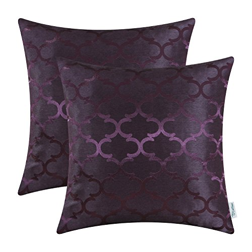 CaliTime Kissenbezüge Kissenhülle 2er-Pack Wurfkissenbezüge Schalen für Heim-Sofa-Couch Modern Glänzend & Matt Kontrast Quatrefoil Akzent Geometric 40cm x 40cm Deep Purple