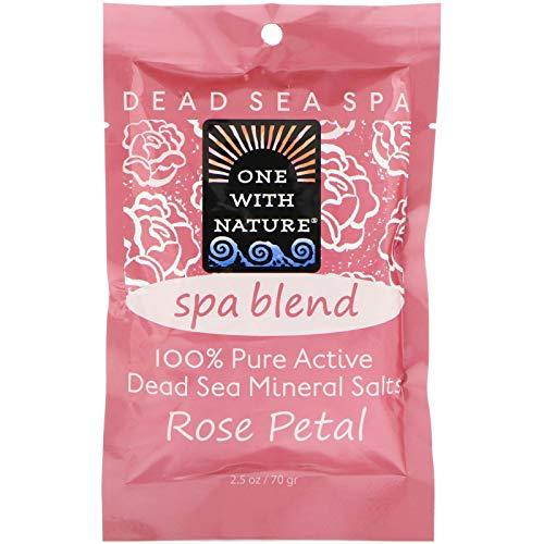 One With Nature - 100% de Pure Sea Minerals de sels de station thermale de mélange de pétale mort actif de Rose - 2.5 once.