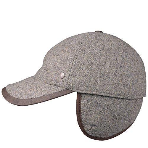 Baseballcap Wegener Fischgrätmuster Wintermütze 100% Wolle mit Ohrenklappen 2634 / 2635 (L - 58 / 59, Grau ( P2636 )) (Mit Fischgrätmuster Wolle)