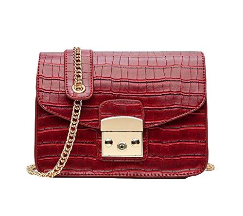 Mini Fashion Chain Bag Uniform Umhängetasche Messenger Bag Lock Kleine Square Bag Einfach Red