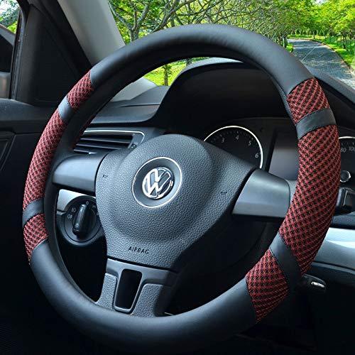 Funda para volante coche, FANSONG microfibra de piel y rayón, universal, 38 cm, Malla transpirable, antideslizante y sin olor