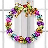 jufengliangyou Weihnachtskranz, Weihnachtskranz für Haustür, Außenaufhängung, Deko-Girlande mit Glöckchen, Schleife und Kleinen Ornamenten 27x26x6cm C