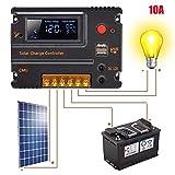 TianranRT Solar Controller LCD Display Anzeige PWM Panel Regler Überlast Kurzschluss Stromkreis Schutz Solarregler Kurzschlussschutz 10A/20A (10A)