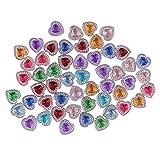 non-brand Sharplace 50 Stück 12mm Herzform Perle Strass Button Flatback Verschönerung - Mehrfarbig
