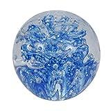 Traumkugel 236 (mittel) große, blaue Blume, nachtleuchtend 6,5-7cm - Glaskugel, Briefbeschwerer