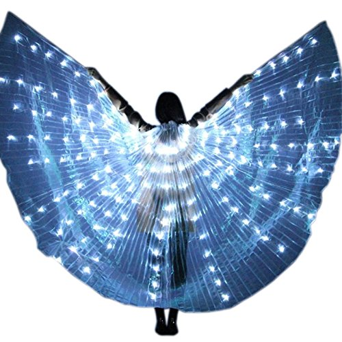 Blue Light Dance Belly Kostüm - Dastrues Women LED Light Isis Wings Belly Dance Costumes 360 Degree Sticks Performance Dancing Supplies Props